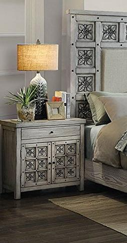 Pantaleon Antique Light Gray Wood Nightstand by Furniture of