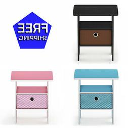 Furinno Petite End Table Bedroom Night Stand Multiple Colors