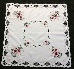 """Polyester Embroidered Rose 36"""" Square Tablecloth Night Stand"""