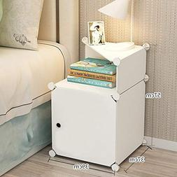 Portable White Bedside Table Night Stand end Tables Side Tab