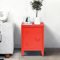 Red Metal Nightstand Cabinet Side End Table with Door and Sh