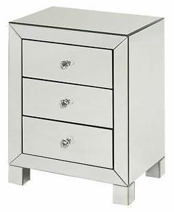 AVE SIX Reflections 3 Drawer Accent Table, Silver Mirrored F