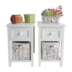 SUNCOO Retro White Wood Shabby Chic Nightstand End Side Beds