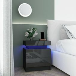 RGB LED Nightstand Black High Gloss with 2 Drawer Modern Bed