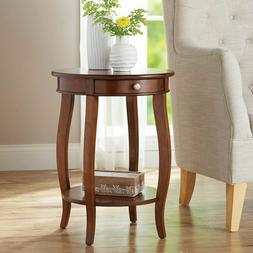 Round End Table / Night Stand / Accent Table - With Shelf an