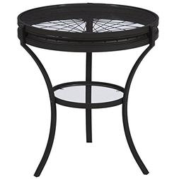 O&K Furniture Wheel Design Accent Side Table, Night Stand wi