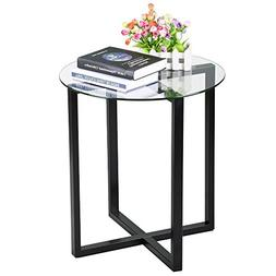 Yaheetech End Side Table Round Glass Top Coffee Sofa Table M