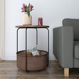 Lifewit Round Side Table End Table Nightstand with Storage B