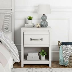 Rustic Nightstand White with Drawer Lower Shelf Bedside Farm