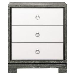Kathy Kuo Home Samuel Modern Silver Grey Lacquer Limed Birch