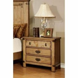 Furniture of America Sesco 3 Drawer Nightstand in Burnished