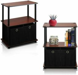 Set 2 Dark Cherry Finish Nightstand Bedside Table End Side S