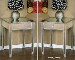 Set 2 Glam Mirrored Furniture Bedroom Nightstands Silver End