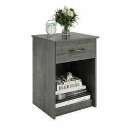 Set 2 Gray Oak Finish Nightstand Bedside Table 1 Drawer End