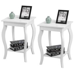 Set of 2 Accent Wooden Side Table End Stand Nightstand with