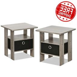 Set of 2 End Table Bedroom Living Room Night Stand w/ Storag