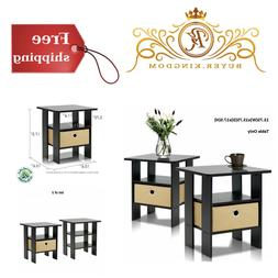 Set Of 2 End Table Bedroom Sturdy Night Stand Petite Espress