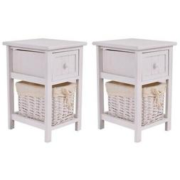 Costway Set Of 2 Mini Night Stand 2 Layer 1 Drawer Bedside E