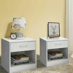 Set of 2 Night Stand 2 Layer W/Drawer Bedside End Table Orga