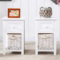 Set of 2 Night Stand 2 Layer 1 Drawer Bedside End Table Orga