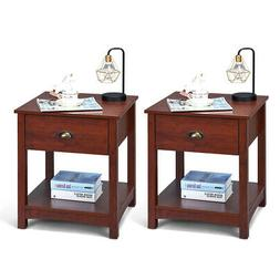 Set of 2 Night Stand Mordern End Table Bed Sofa Side Wooden