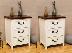 Set OF 2 Solid Wood Strong Night Stand Bedside End Table Org