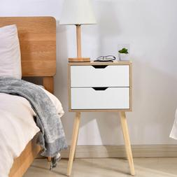 Set of 2 White Wood Sofa End Side Bedside Table Nightstand W