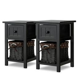 Set Of 2Mini Night Stand 2 Layer 1 Drawer Bedside End Table