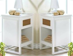 Set of Two  ** PERFECT WHITE  SIDE-END--NIGHT STAND TABLES *