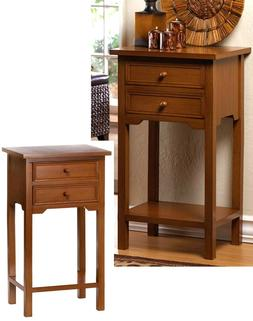 Set of Two ** NATURAL WOOD  END SIDE NIGHT STAND TABLES 2 DR