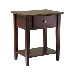 Shaker Style Antique Walnut Finish Night Stand One Drawer Op