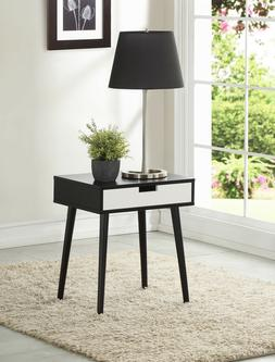 Side End Nightstand Table with Drawer Wood Black Walnut Espr