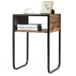 Side Table Industrial Coffee Table w/Metal Frame Rustic End