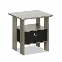 Side Table Night Stand Shelf Drawer Storage Home Wood Furnit