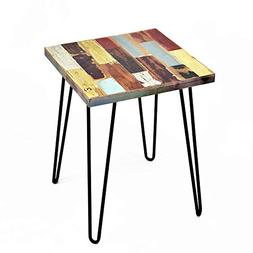 WELLAND Side Table Reclaimed Wood, Round Hairpin Leg End Tab