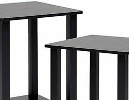 Simplistic 2 Piece End Table, Espresso / Black