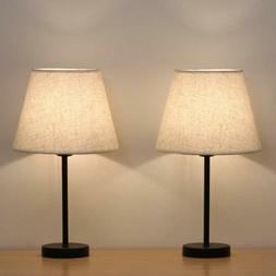 Small Nightstand Table Lamps Set of 2 with Fabric Shade Beds