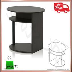 Small Round Nightstand Table With Storage Shelf Bedside Side