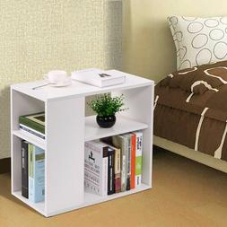 Sofa End Table Cube Book Storage Wood Bedroom Console Stand
