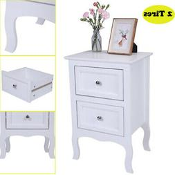 Solid Wood Modern Night Stand End Side Bedside Table Organiz