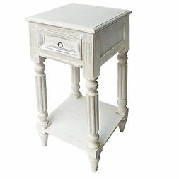 Spacious Mango Wood Side Table with Metal Ring Handle, Washe