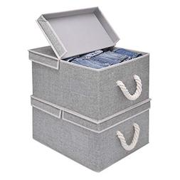 Storage Basket With Lid And Cotton Rope Handles Decorative B