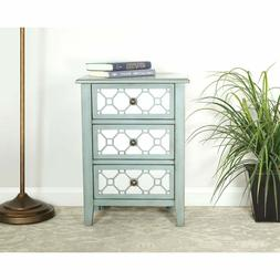 Storage Cabinet with 3 Drawers Accent Chest with Mirror Pane