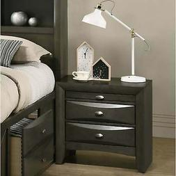 Strick & Bolton Martyn Solid Wood Nightstand Grey 2-drawer