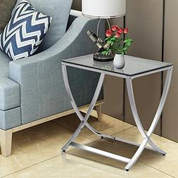 go2buy Modern Clear Tempered Glass Chair Side End Table with