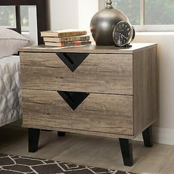 Baxton Studio Swanson Wood 2 Drawer Nightstand in Distressed
