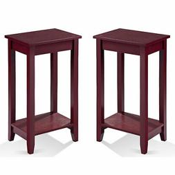 Set of 2 COSTWAY Tall End Table Coffee Stand Night Side Acce