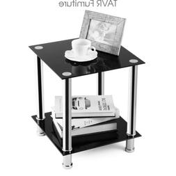 TAVR End Table,Sofa Table,Night Table with Tempered Glass Sh