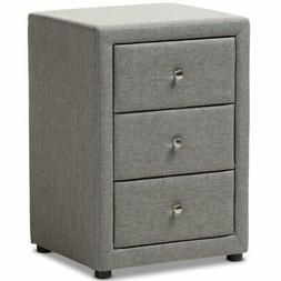 Baxton Studio Tessa 3 Drawer Fabric Upholstered Nightstand i