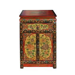 A Small Cabinet Tibetan Oriental Black Yellow Orange Floral